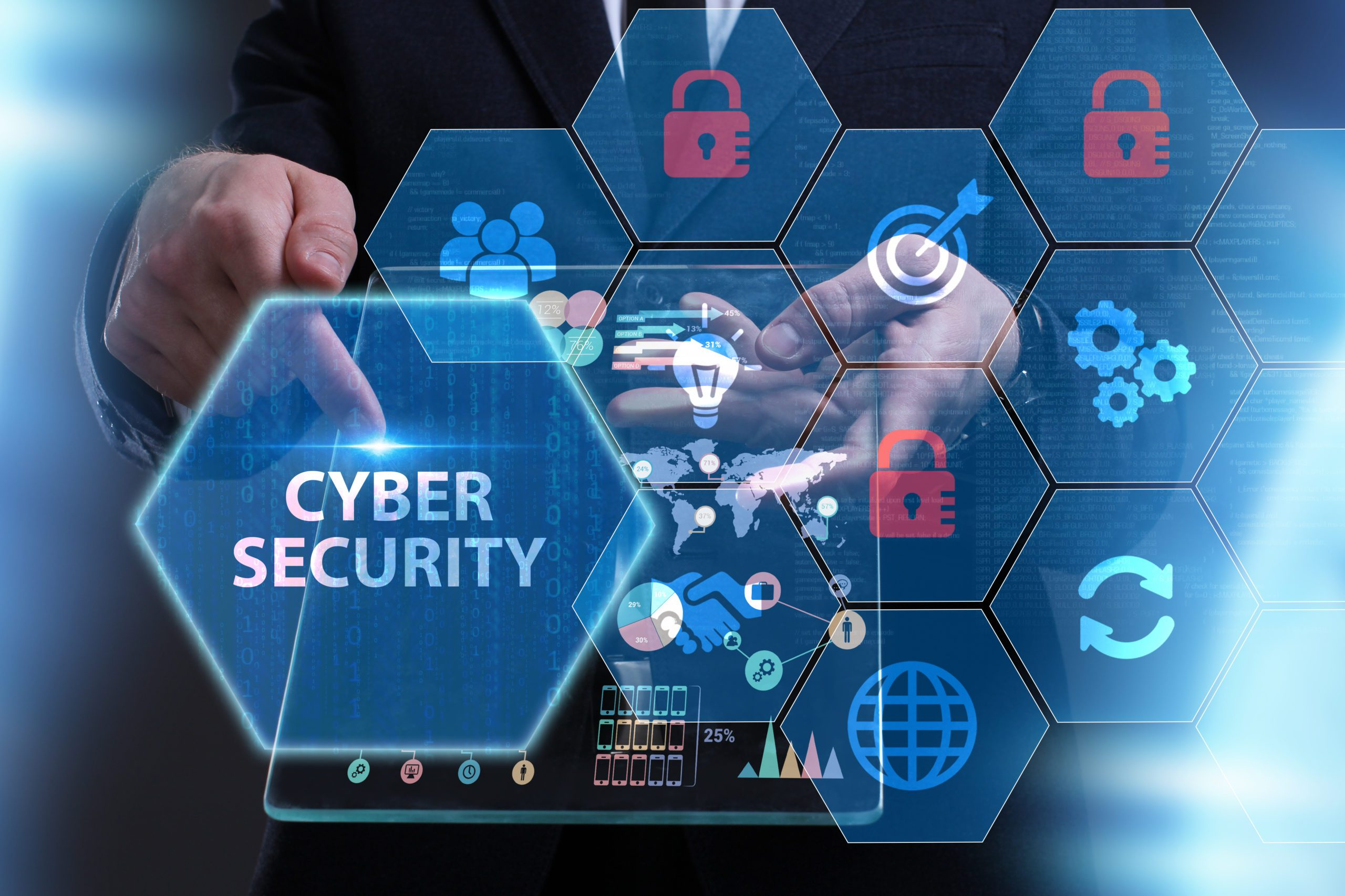 Illustation: Business, Technology, Internet and network concept. Young businessman working on a virtual screen of the future and sees the inscription: Cyber security